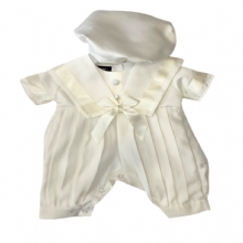 Baby Boys Ivory Sailor Style Christening Romper